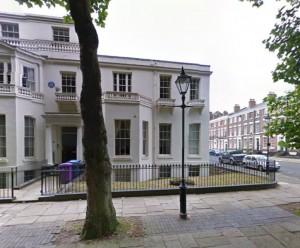Peter Ellis hem vid Falkner Square. Här bodde han i 40 år.