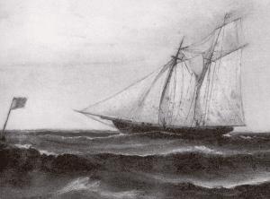 Skonerten Sverige från 1852 (målning P V Cedergren)