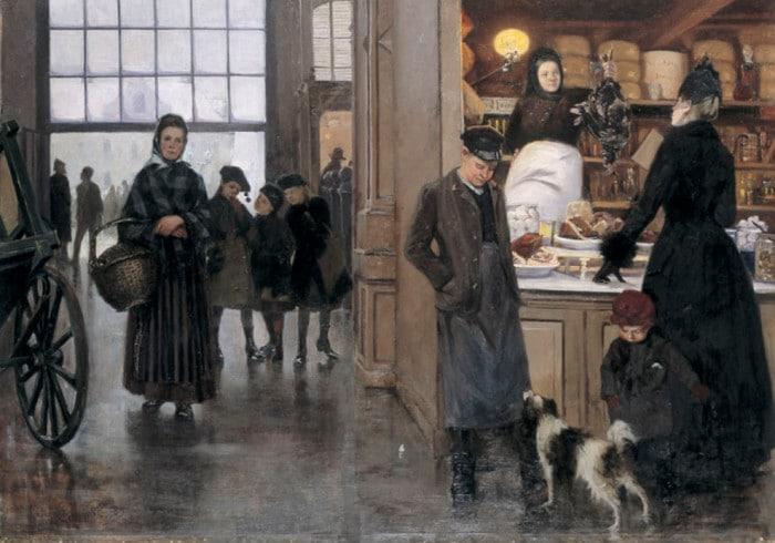 Besök i Hötorgshallen 1889 (Målning; Lotten Rönnquist, SSM)
