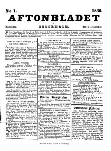 Det första numret av Aftonbladet 1830